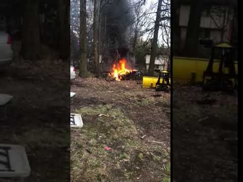 A car caught fire in Ramapo, though the driver was able to escape serious harm.