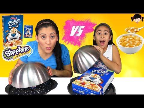 Reto Shopkins OH SO REAL! Vs Comida Real Juegos en Familia con Juguetes Diveridos