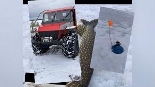 Щука на живца Рыбалка зимой Вездеход огонёк 4х4