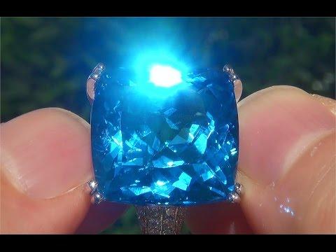 Estate Natural FLAWLESS London Blue Topaz & Diamond 14k White Gold Ring - C110