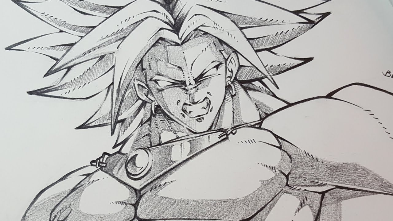 How to draw broly dragon ball super pencil sketching
