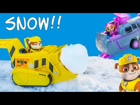 Paw Patrol Flip n Fly Rubble and Skye with the Assistant Playing in the Snow
