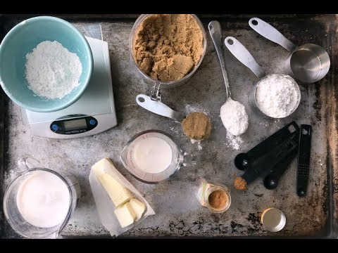 Measurements of ingredients for baking cake