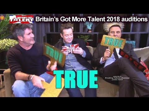 Simon Cowell And David Walliams Play True Of False  Britain's Got More Talent 2018 BGMT