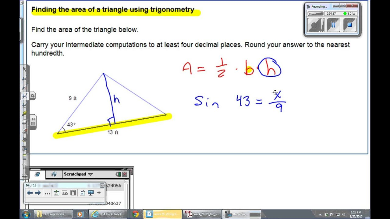 Find The Area Of The Triangle Using Trigonometry