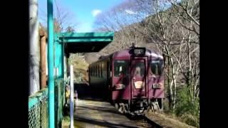 わたらせ渓谷線駅 元宿駅で電車を.