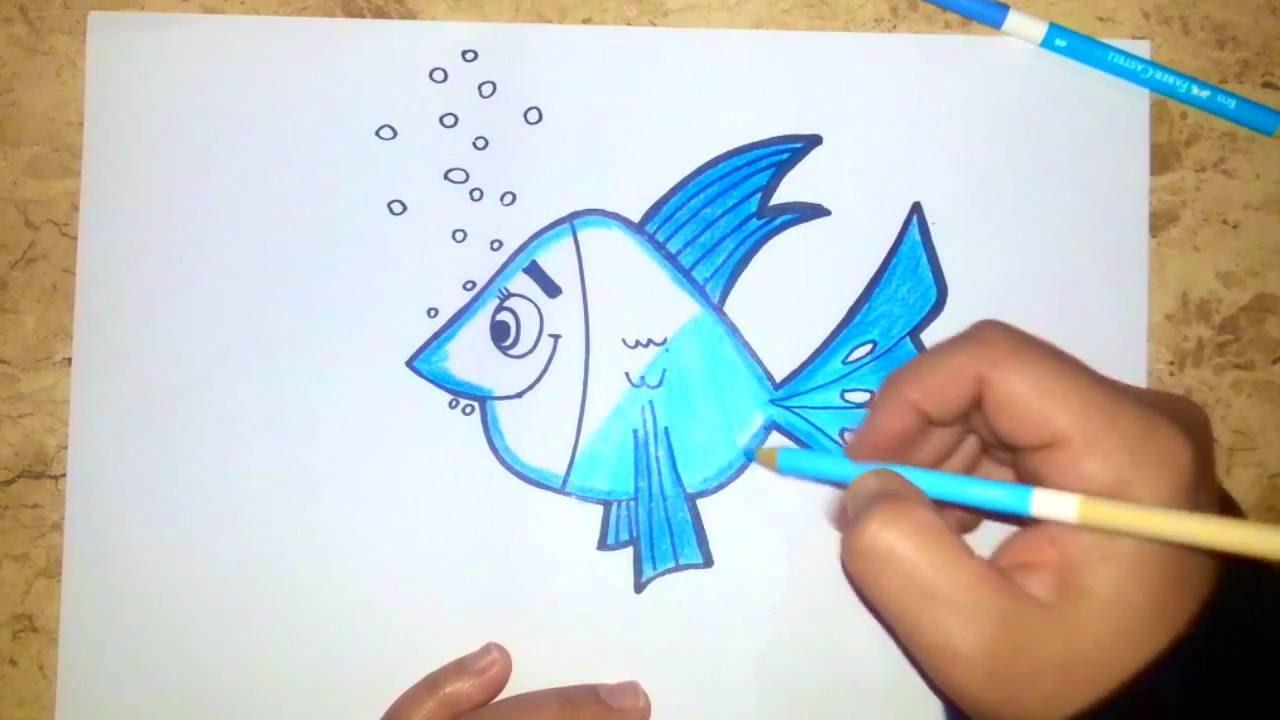 Peixe Colorido Como Desenhar E Pintar Um Peixe 104 Youtube