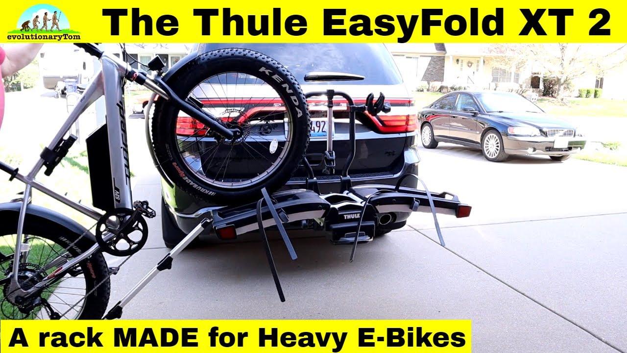 e bikes on the thule easy fold xt 2 bike rack made specifically for heavy e bikes