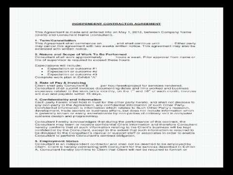 Sample Consulting Contract  Youtube