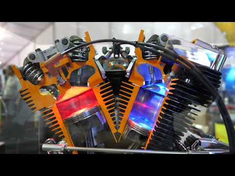 🇺🇸 Working Model of a Harley V-Twin Air Cooled Motorcycle Engine at SEMA Show [4K]