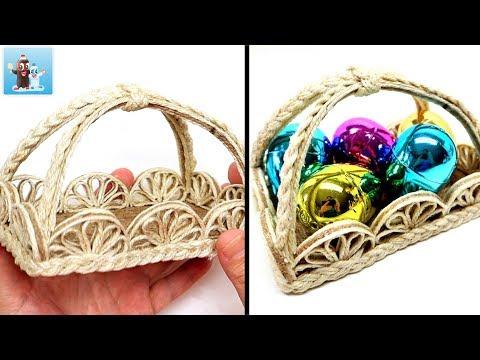 Handmade Basket LEMON from Jute|Twine Art and Craft Ideas
