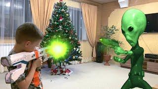 Nerf Game new year alien invasion новогоднее инопланетное вторжение