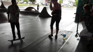 Crazy lady at skatepark
