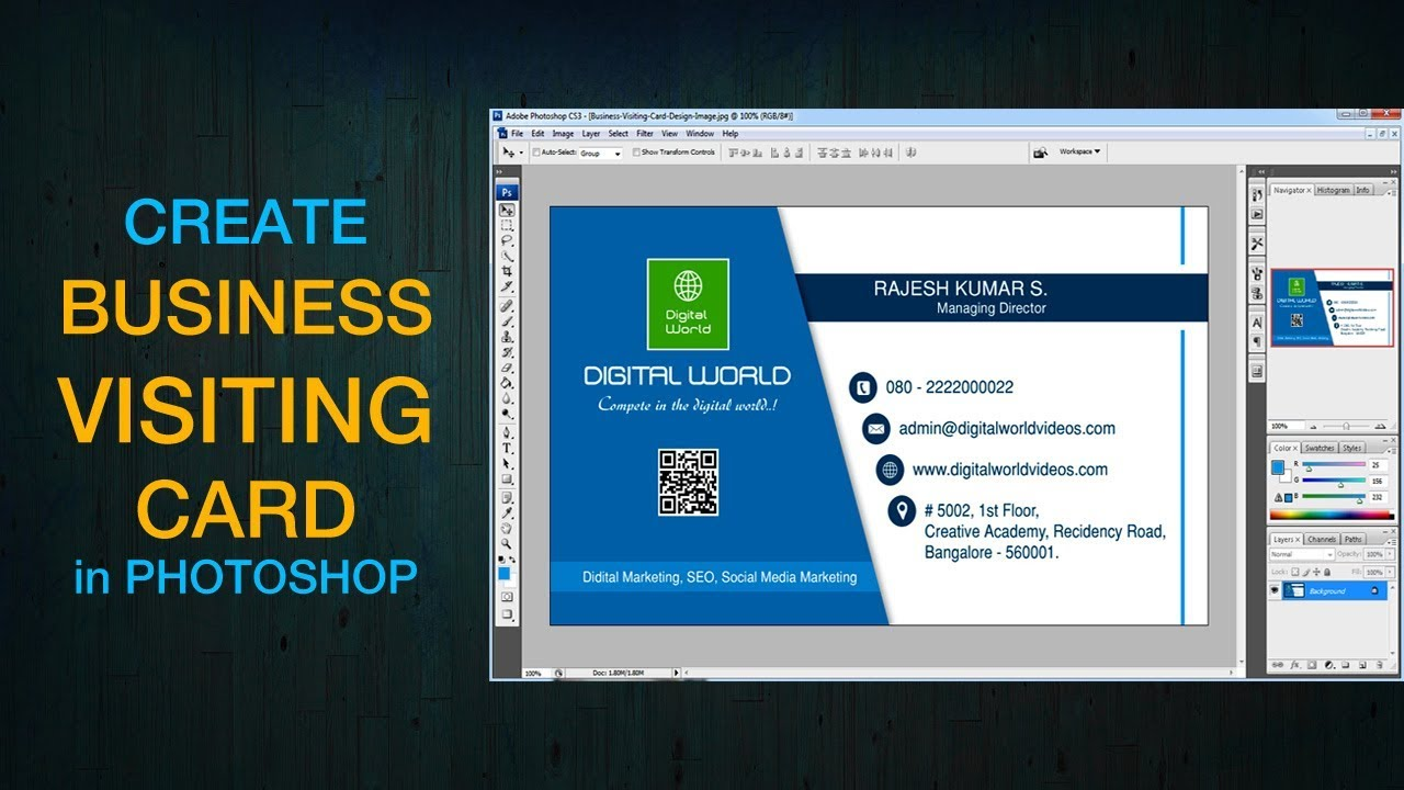 How to Create Business Card in Photoshop 7.0 / CS3 / CS5 / CS6 ...