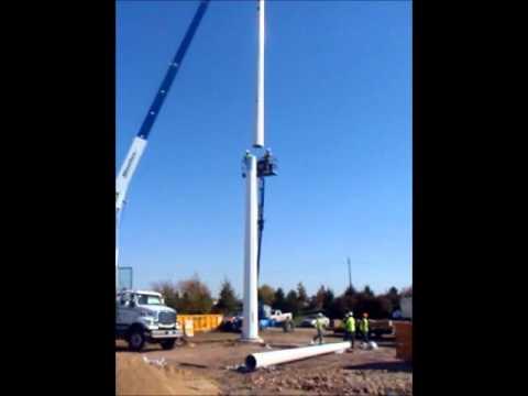 Wind Tower Installation - 100' Monopole Part 1