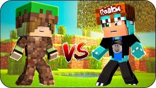 ROBLOX VS ARMORED MINECRAFT ARMOURy 😮 BATTLE OF BBE MILO AND vita ROLEPLAY