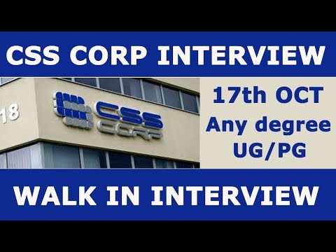 CSS CORP INTERVIEW - TECH SUPPORT - ANY DEGREE - CHENNAI WAL