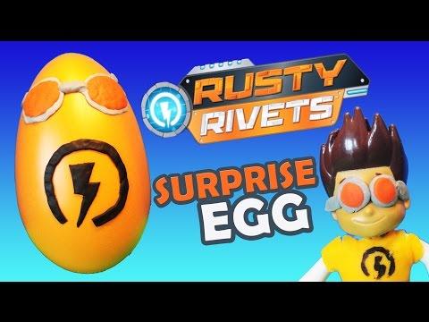 GIANT RUSTY RIVETS Play Doh SURPRISE EGG Paw Patrol & Disney Cars Toys Surprise Eggs Video