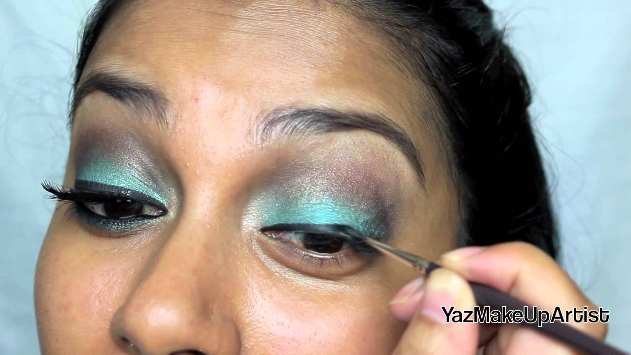 Eid Tutorial Turquoise Brown Smokey Eye Makeup Youtube