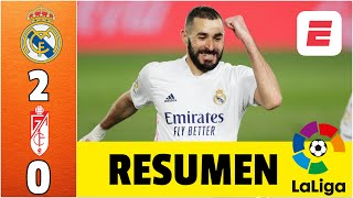 Real Madrid 2-0 Granada. Goles de Casemiro y Benzema. El Madrid empata al Atlético arriba | LaLiga