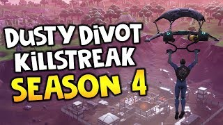 Fortnite: SEASON 4 🔥 Dusty Divot CRAZY KILLSTREAK ( NEW MAP AREA + Season 4 Battle Pass Twizz )