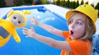 Ulya saved the teletubbies from the pool