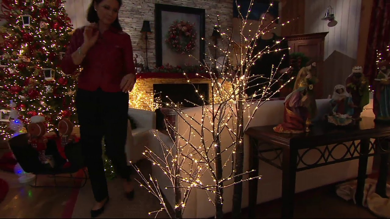 indoor outdoor illuminated birch tree with base by valerie on qvc - Qvc Outdoor Christmas Decorations