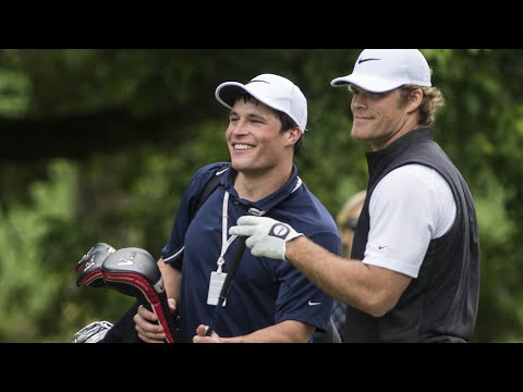 Luke Kuechly Caddies for Greg Olsen At Celebrity Pro-Am