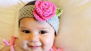 Crochet Glama's Stretchy Rose Headband