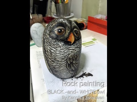 Painted rock : Black and white owl