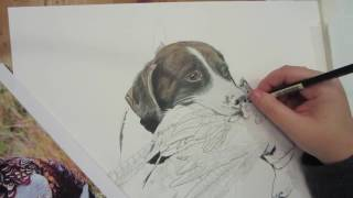 Colored Pencil Pet Portrait- Willy- By Leela Rae of Riley Mica Designs