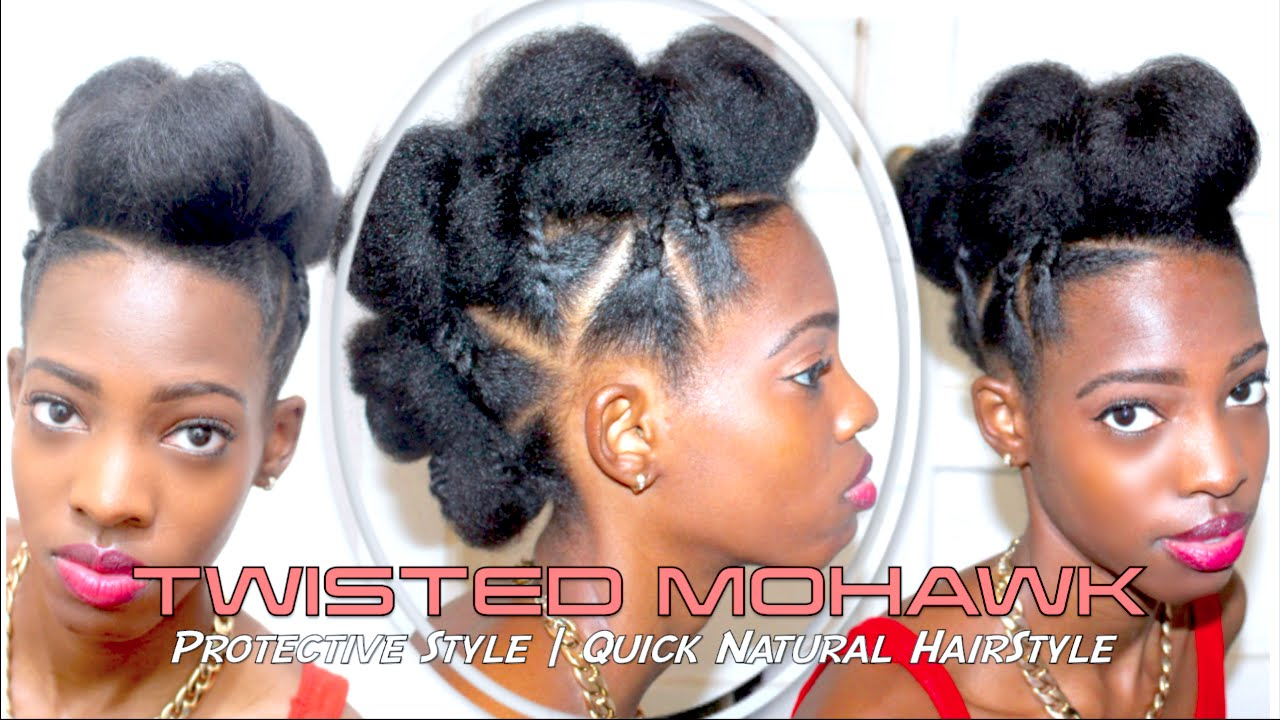TWISTED MOHAWK | Protective Style | Quick Natural HairStyle - YouTube