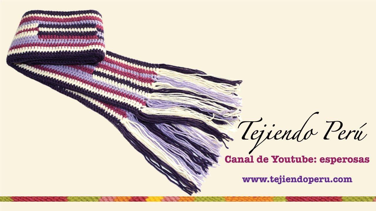 Bufanda tejida a crochet en forma horizontal - YouTube
