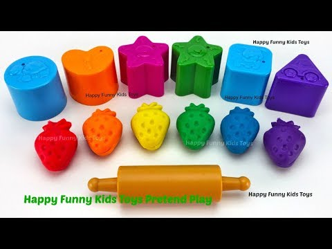 Learn Colors and Shapes with Play Doh Strawberry Kinder Surprise Eggs Zuru 5 Surprise Toys