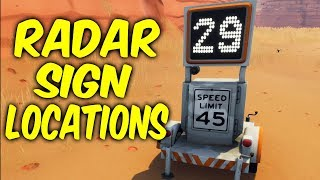 Fortnite Week 5 challenges.Radar sign locations,Record a speed of 27 or more on different radars