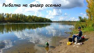 Рыбалка на фидер осенью Река Белая Бабье лето