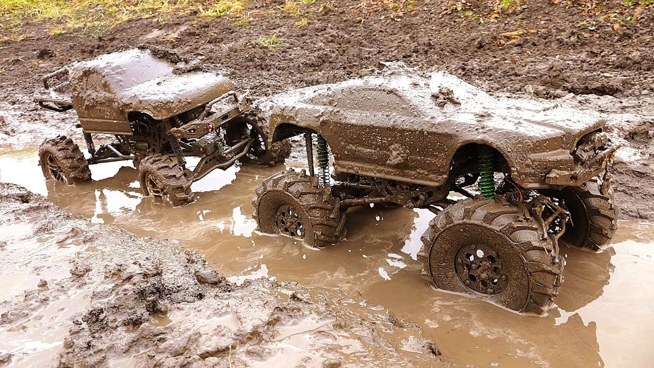 Rc Adventures Mud Trucks In A Bog Race Monster Mud Stang Vs Frankenstein Youtube