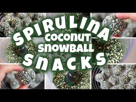 Spirulina Coconut Snowballs!! (A Super Spirulina Snack)