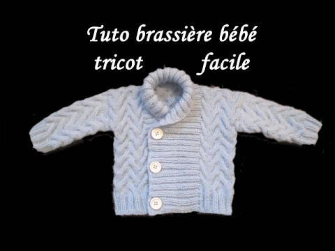 18237ac7ff6d2 TUTO BRASSIERE TORSADE BEBE TRICOT Cardigan knitted baby CHAQUETITA ...