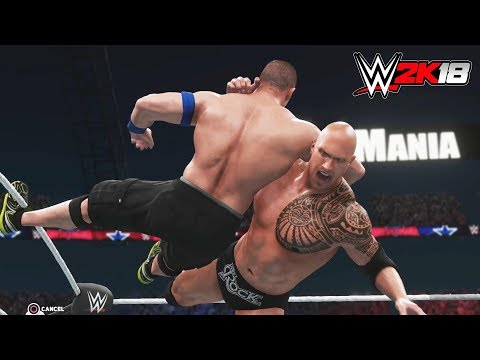 WWE 2K18 - Gameplay PS4 Pro / Xbox One The Rock vs John Cena Extreme Rules