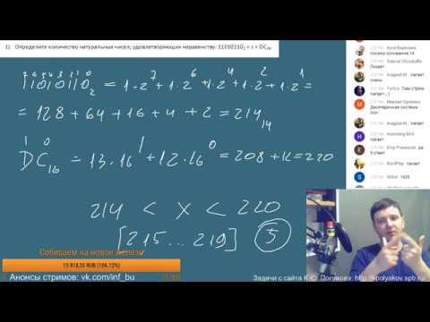 Трансляция #50.1. Разбор заданий ЕГЭ. Информатика.