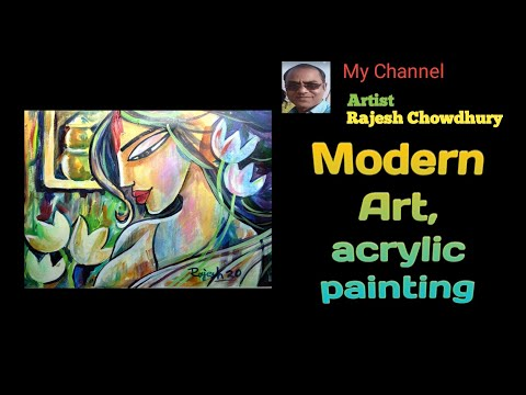 Abstract Painting , Modern art , Beautyful lady , Easy Acrylic Painting step by step
