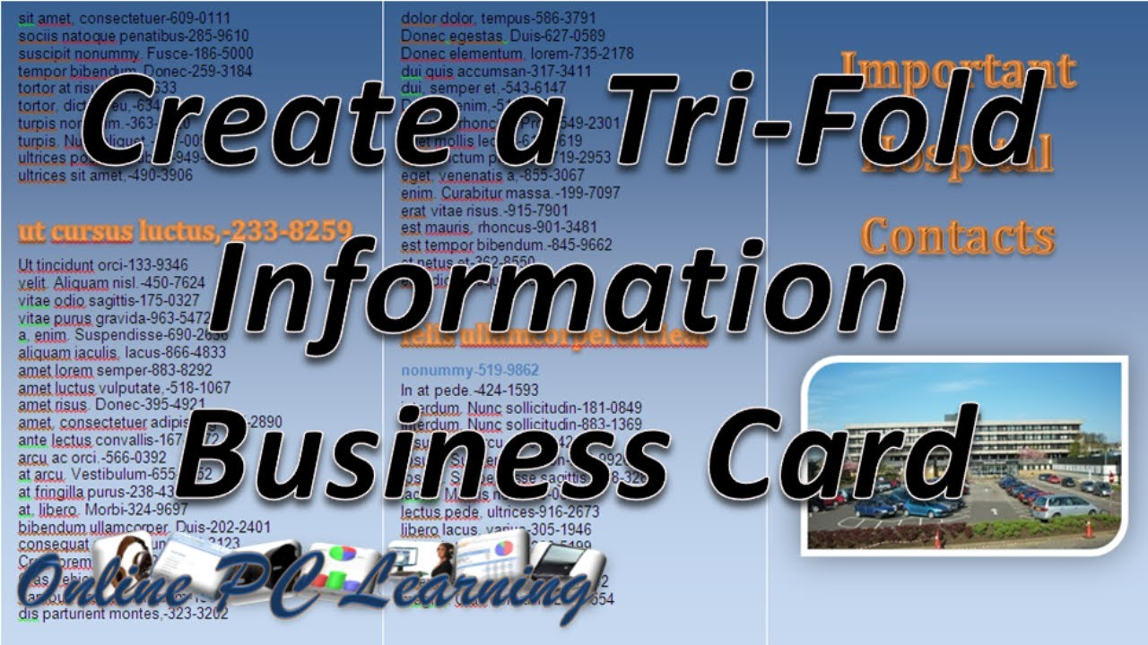 Business Card - Make a Tri-fold Information Card - YouTube