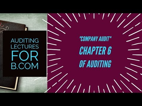 company audit Chapter 6 of Auditing | AUDITING Lectures for B.COM 2ND YEAR | SOL & REGULAR |In Hindi
