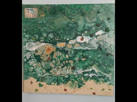 Acrylic pour with seaglass #18
