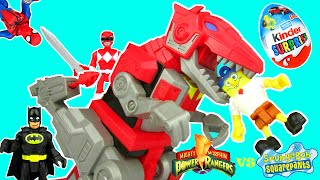 Imaginext Power Rangers Dino Charge T-REX ZORD vs SPONGEBOB Unboxing Episode by Toy Review TV