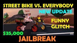Roblox Jailbreak - Buying and Racing, Funny GLITCH - $35,000 Motorcycle Vs. Bugatti, Lambo, Porsche