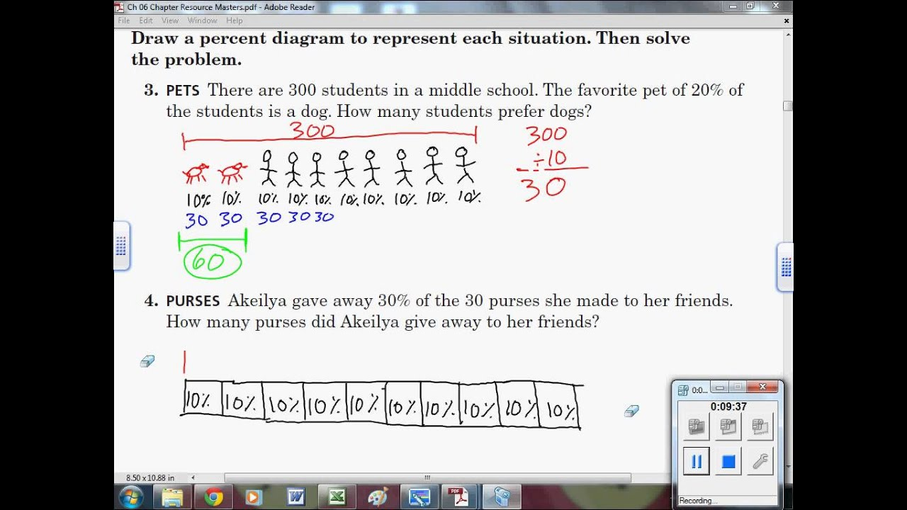 61 A Finding Percents with Percent Diagrams 7th Grade Math  YouTube