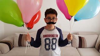 Baloncu Amca Buğra Bize Balon Getirdi Berat Balonları Patlattı. Eğlenceli Çocuk Videosu