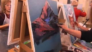 Игорь Сахаров, научиться писать горы маслом, закат